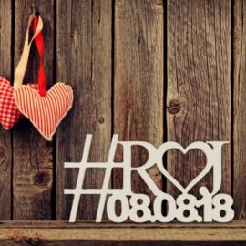 Hashtag Initialen met Datum Open Hart