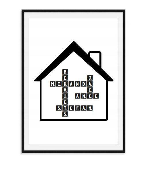 Scrabble poster met eigen namen - in huis
