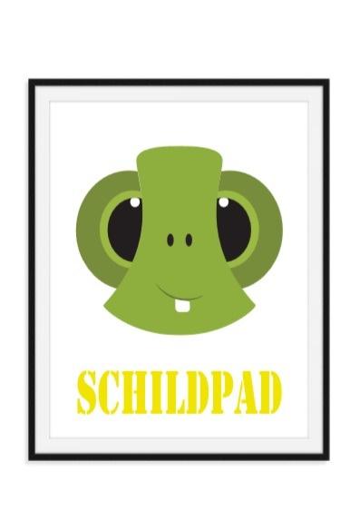 Schildpad poster met naam naar keuze