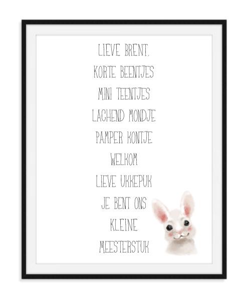 Geboorte spreuk met naam - Poster
