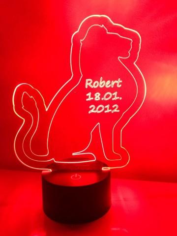LED Lamp Leeuw met Naam + Datum
