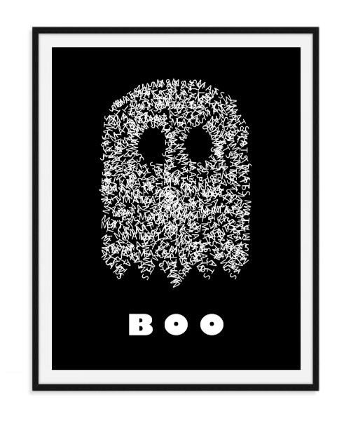 Spookje boo met naam Poster - zwarte achtergrond