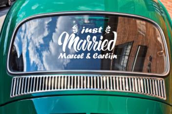 Just married met namen - Autosticker