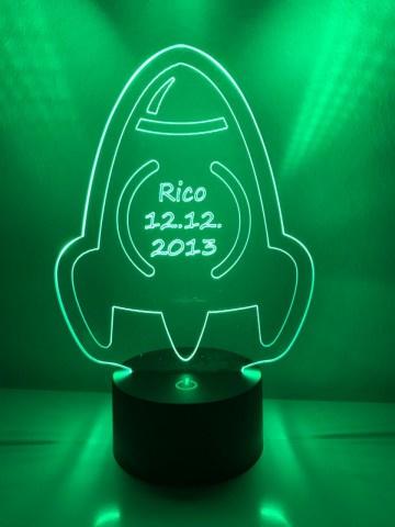 LED Lamp Ruimteschip met Naam + Datum
