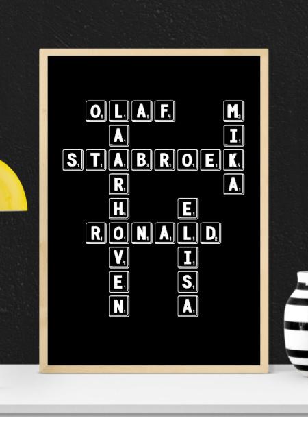 Scrabble poster met eigen namen - Zwarte achtergrond