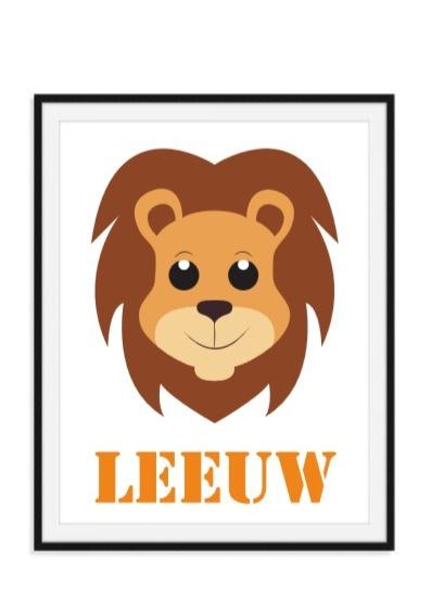 Leeuw poster met naam naar keuze