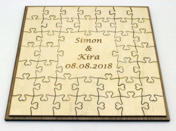 Gastenboek puzzel populierenhout
