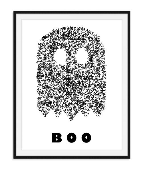 Spookje boo met naam Poster - witte achtergrond