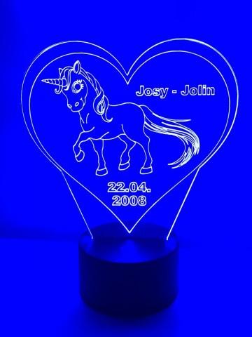 LED Lamp Eenhoorn met Naam + Datum (sta)