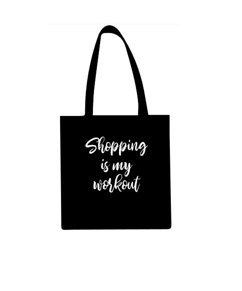 Katoenen draagtas Shopping is my workout