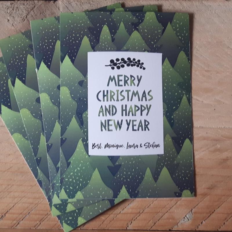 Kerstkaart Groene Dennebomen, set van 4