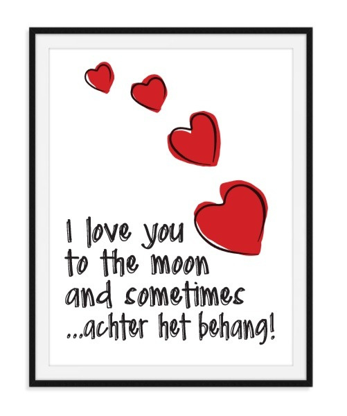 I Love you to moon behang - Poster