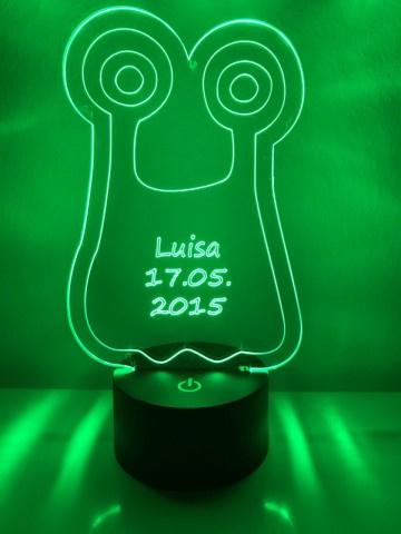 LED Lamp Monster Glubsi met Naam + Datum