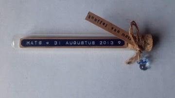 Naam + Geboortedatum - Flessenpost + speen