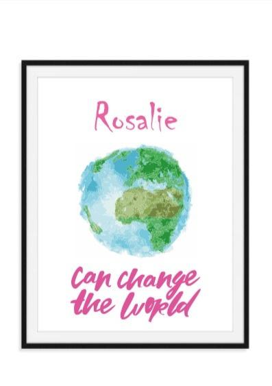 Can change the world poster met naam - Eigen kleur