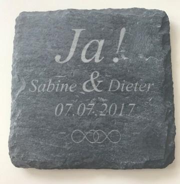 JA + Namen + Datum Onderzetters set van 6