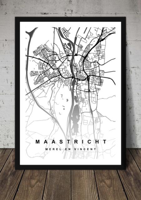 Plattegrond Maastricht - Lijntekening doorlopend