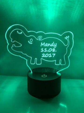 LED Lamp Nijlpaard met Naam + Datum