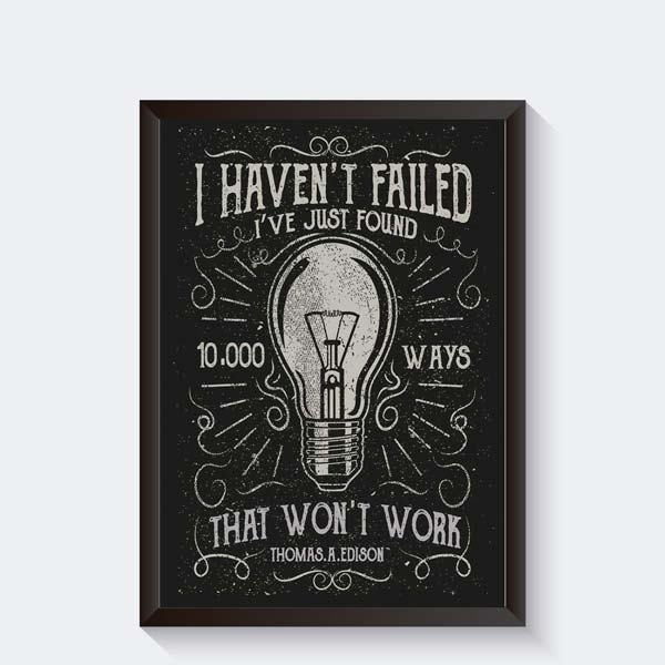 Gloeilamp met tekst Thomas Edison poster