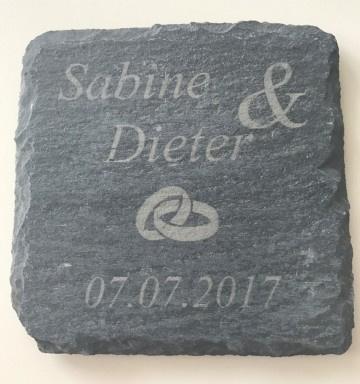 Namen + Ringen + Datum Onderzetters set van 6