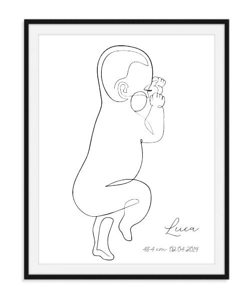 Geboorte poster Baby op ware grootte - met data