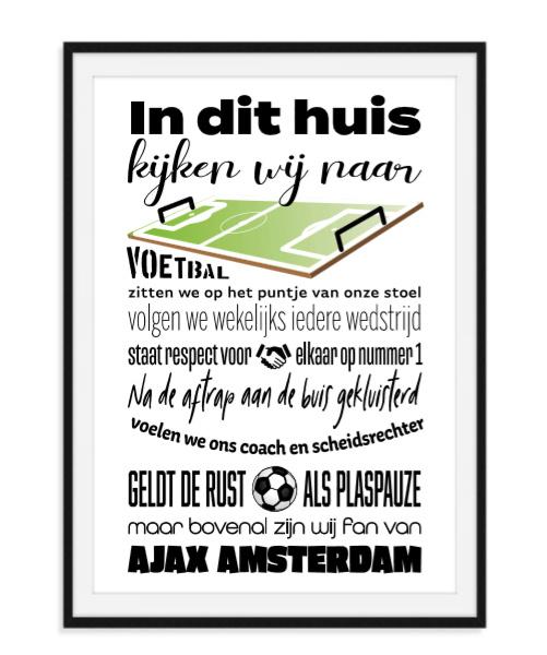 Voetbal fan poster met naam naar keuze