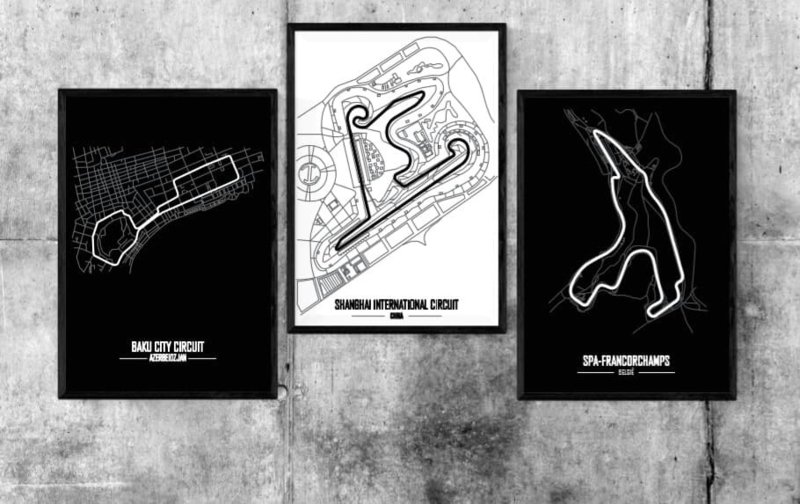 Circuit naar keuze poster - Minimalistische stijl.