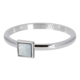 iXXXi Vulring 2 mm White Shell Stone Square Zilver