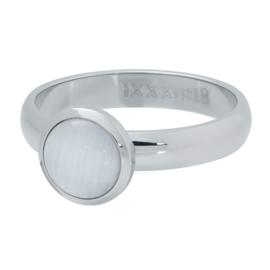 iXXXi Vulring 4 mm 1 Cateye White Stone 10 mm Zilver