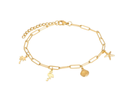 Ankle Whit Charms Goud