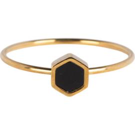 Charmin*s Ring Hexagram Gold Steel R711
