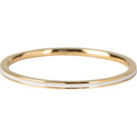 Charmin*s Ring Petite Gold Steel White Enamel R69