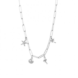 Collier Necklace With Charms 40 cm Zilver