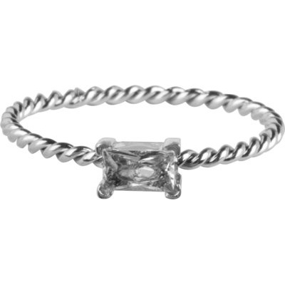 Charmin*s Ring Twisted Queen Crystal Shiny Steel R767