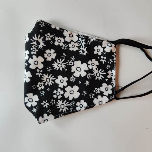 Mondkapje Bloemen Zwart/Wit