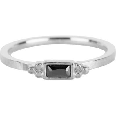 Charmin*s Ring Royal Rectangle Shiny Steel Black CZ R633