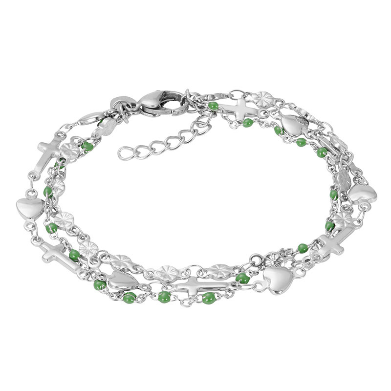 iXXXi Armband Ghana (green beads) Zilver