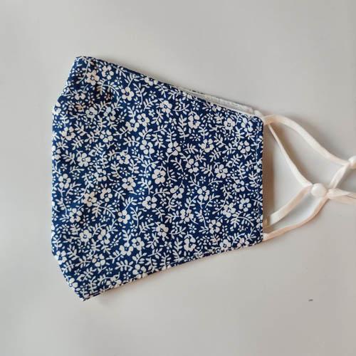 Mondkapje Bloem Donkerblauw/Wit