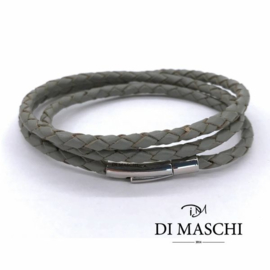Grijze 4mm wikkel armband