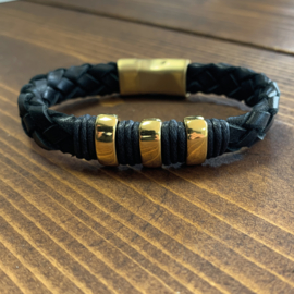 Gold and black armband set