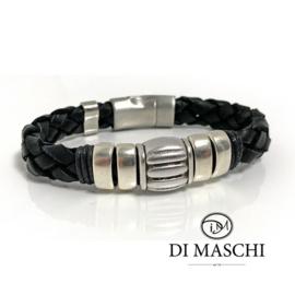Lusso black 2 leren armband