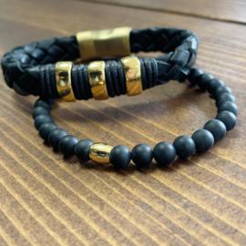 Gold and black armband set