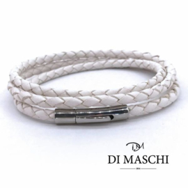 Witte 4mm wikkel armband