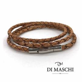 Kastanje bruine 4mm wikkel armband