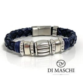 Lusso blue leren heren armband