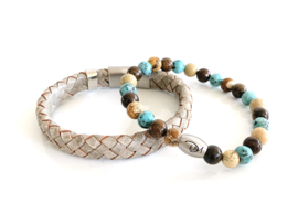 Grey, Sand, Dark Brown & Turquoise 3 colors set