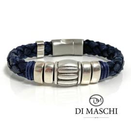 Lusso blue 2 leren armband