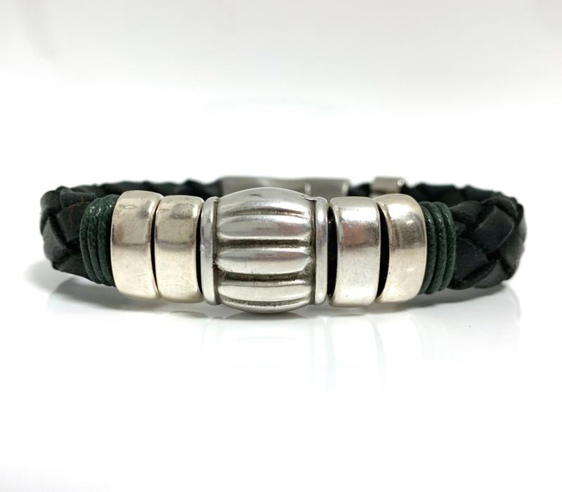 Lusso green 2 leren armband