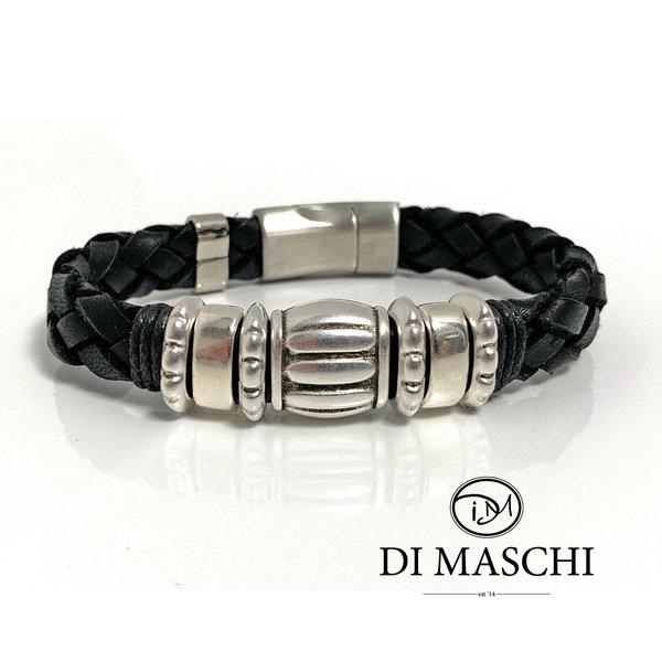 Lusso Black leren armband