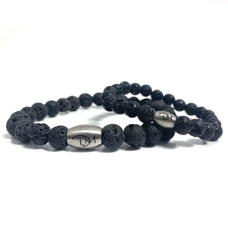 Father & son black lava stone set